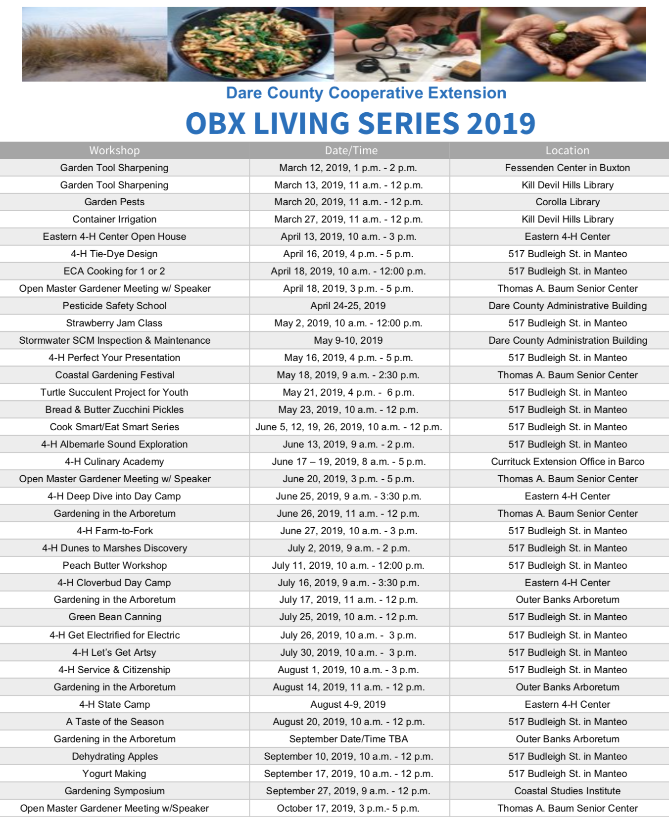 OBX Living Series 2019 schedule