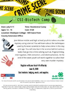 Crime Scene Investigation Science Camp