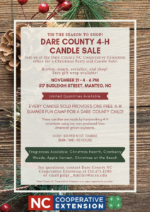Join us at the Dare County NC Cooperative Extension office for a Christmas Party and Candle Sale! Browse, snack, socialize, and shop!  Free gift wrap available!