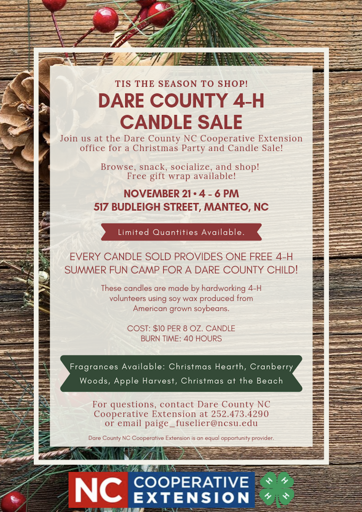 Join us at the Dare County N.C. Cooperative Extension office for a Christmas Party and Candle Sale! Browse, snack, socialize, and shop! Free gift wrap available!