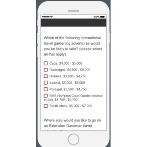 screen shot of survey