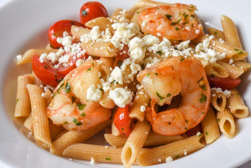 Basil, Shrimp, and Tomato Pasta with Feta