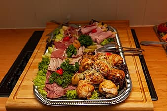 Meat and vegetables on a sheet pan